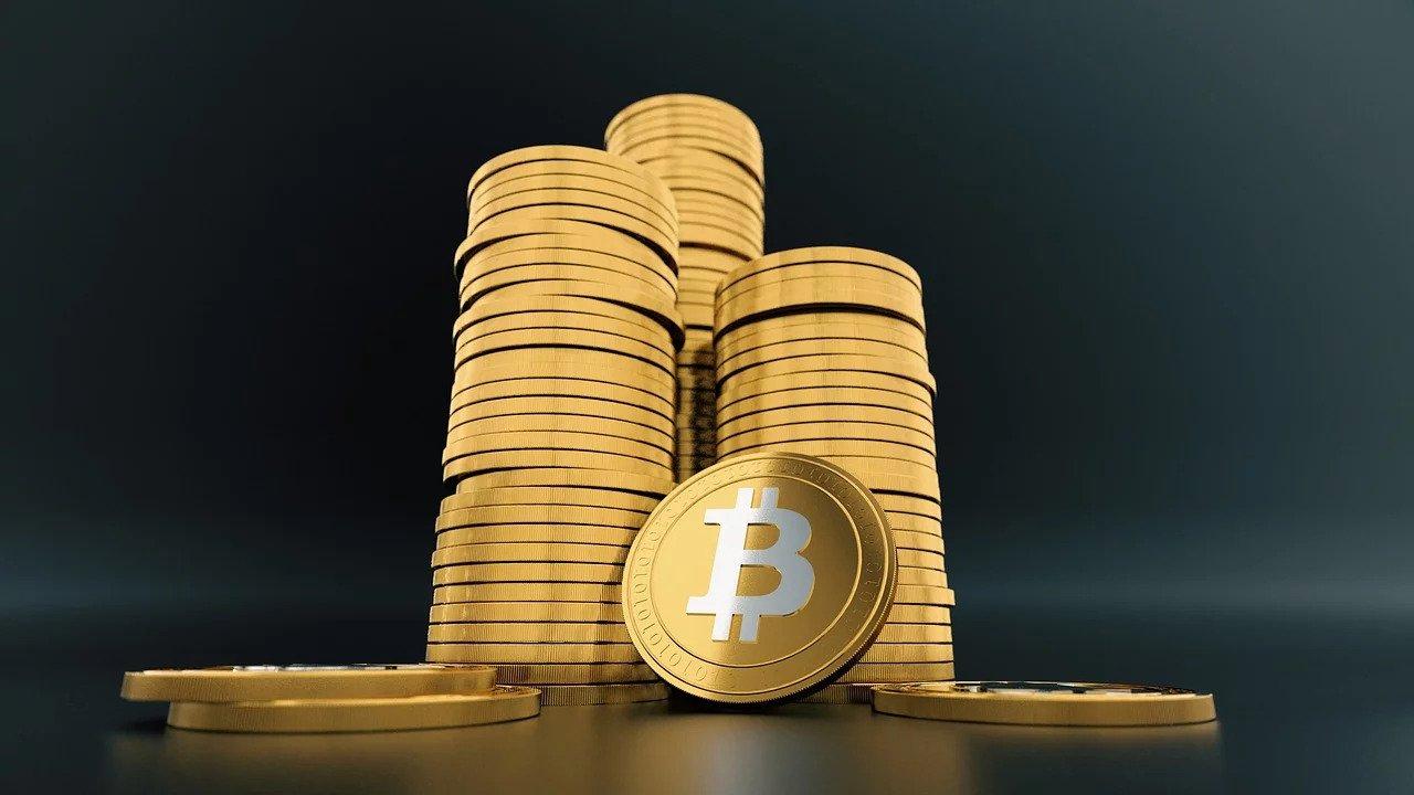 stacks of virtual bitcoins